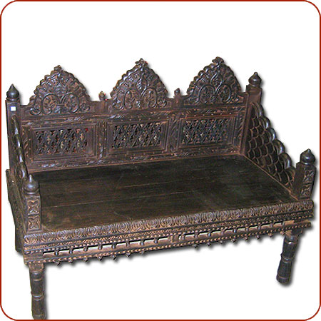 Click To Enlarge - Carved Bench, Asian Bench, Indian Bench, Mogul Furniture
