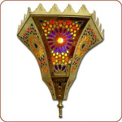Moroccan lamp and lantern - Arabesque Brass Wall Sconce