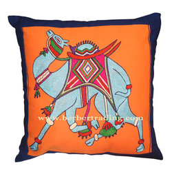 Camel embroidered pillow