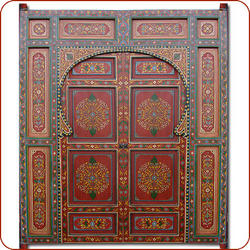 Moroccan Painted Door :  home accents headboard moroccan