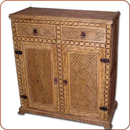 Attirant Name: Moroccan Carved Cedar Cabinet