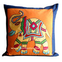 Elephant embroidered pillow